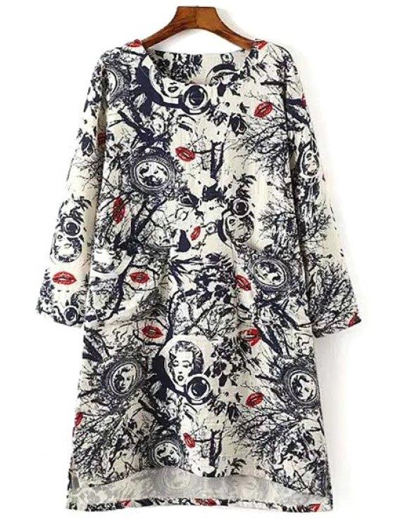 trendy Lip Print Long Sleeves Loose Fitting Sweatshirt - COLORMIX XL