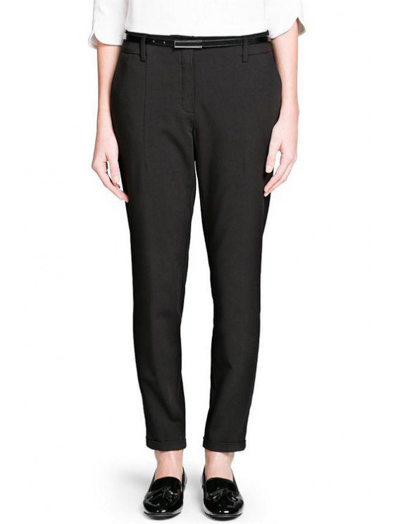 online Narrow Feet Ninth Pants With Belt - BLACK S