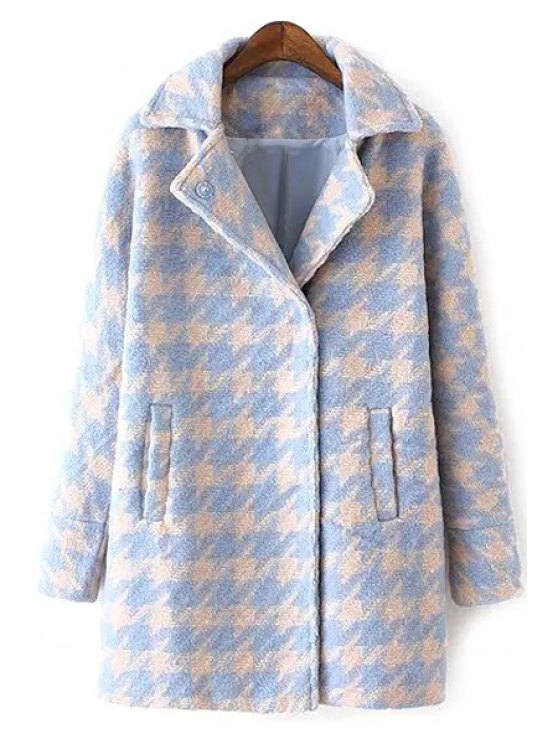 best Houndstooth Lapel Collar Long Sleeves Coat - LIGHT BLUE M