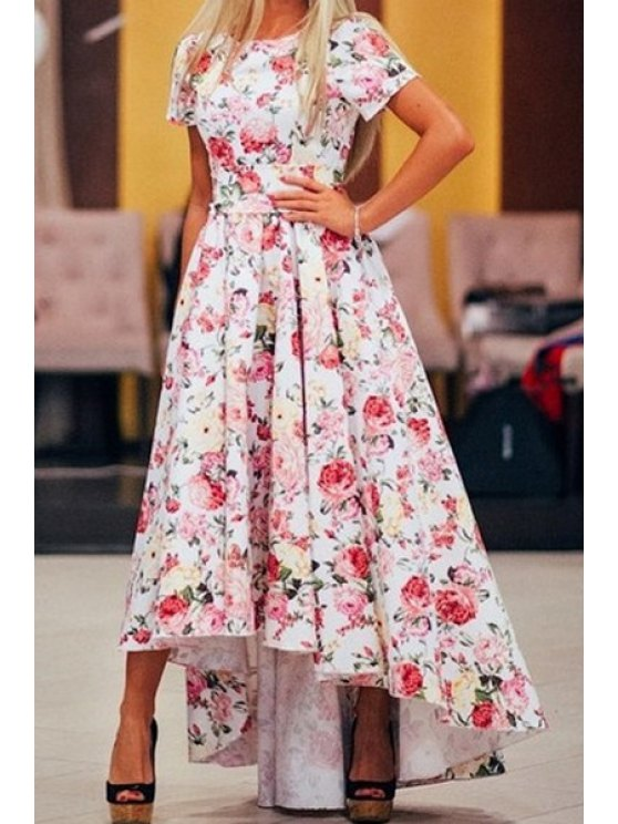 new Floral High Low Short Sleeve Maxi Dress - PINK S