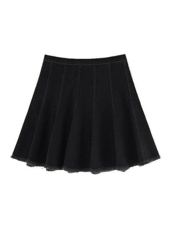trendy A Line Frayed Denim Skirt - BLACK XS