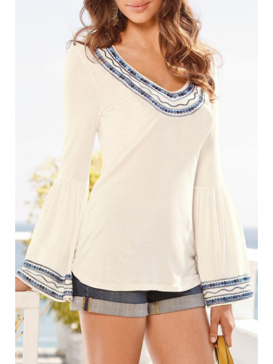 fashion Ethnic Print Long Sleeves Blouse - WHITE S