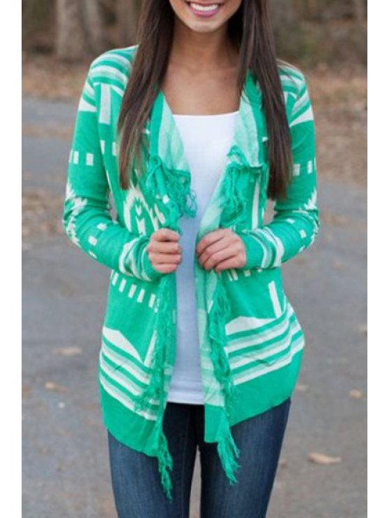 womens Green Tassels Long Sleeve Cardigan - GREEN S