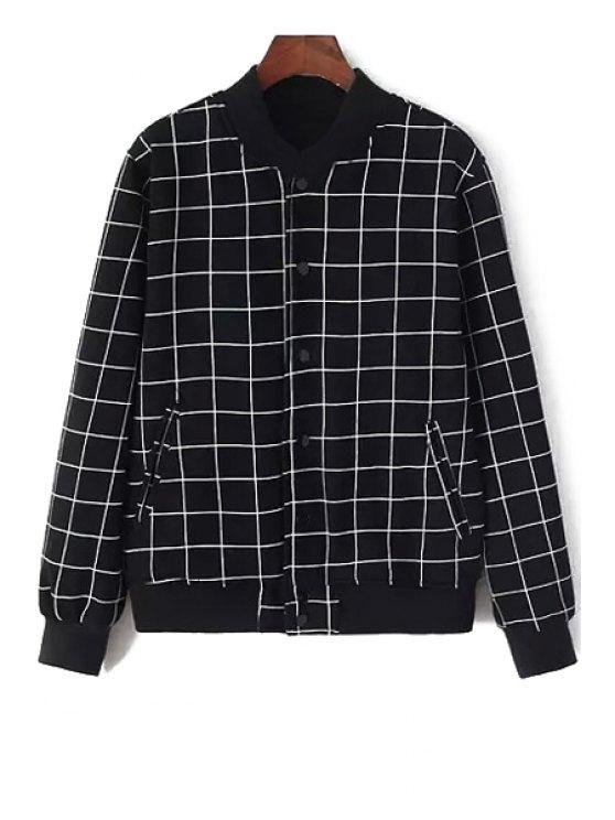 outfit Stand Neck Plaid Baseball Jacket - BLACK XXS