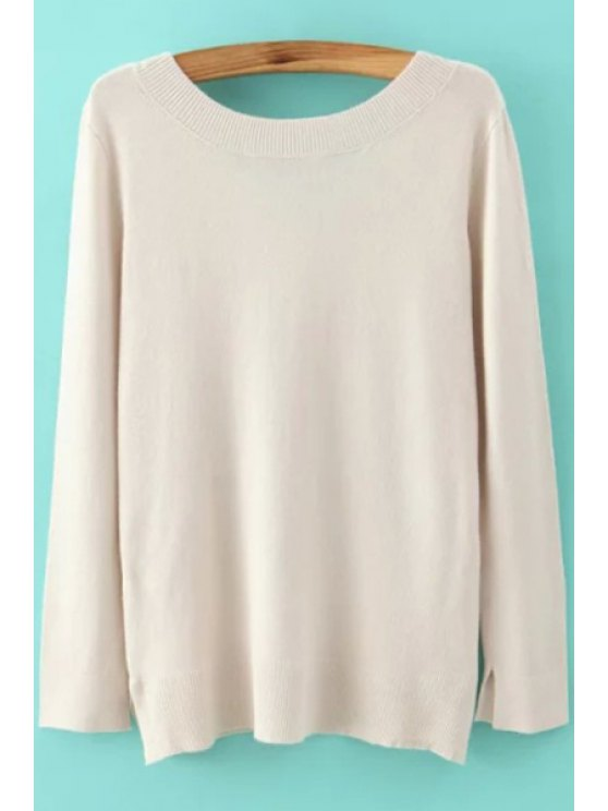 unique Long Sleeve Low Back Sweater - OFF-WHITE S