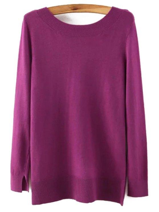 fancy Long Sleeve Low Back Sweater - PURPLE L