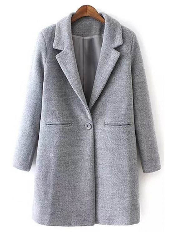 outfit Gray Long Sleeves Lapel Collar Woolen Coat - GRAY S