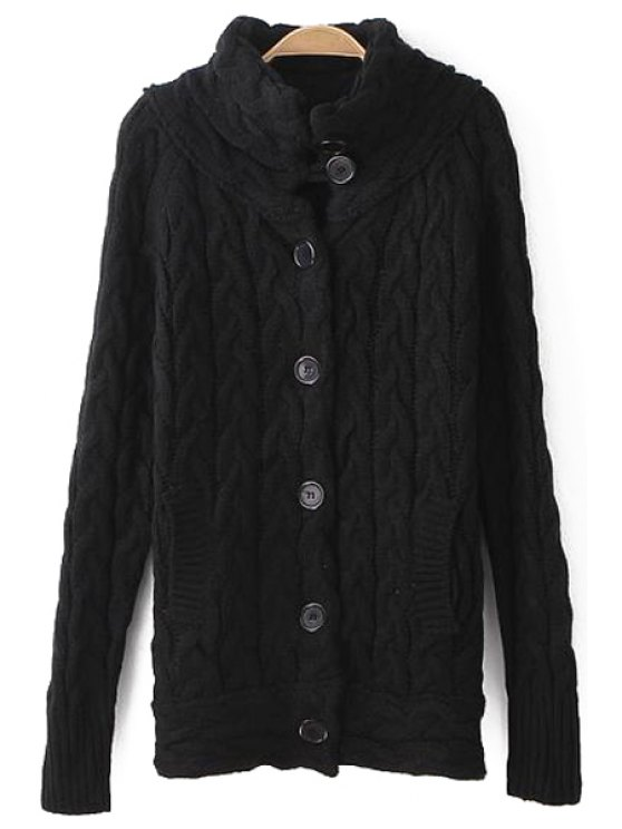 affordable Funnel Collar Cable Knit Cardigan - BLACK ONE SIZE(FIT SIZE XS TO M)