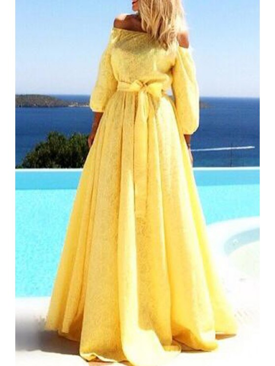 trendy Yellow Off The Shoulder 3/4 Sleeve Dress - YELLOW S