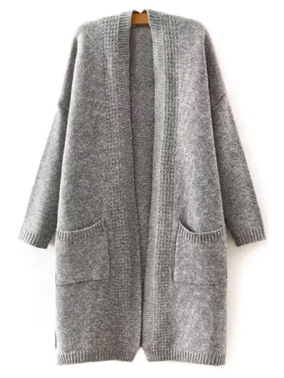 women's Gray White Spliced Collarless Long Sleeves Thicken Cardigan - GRAY M
