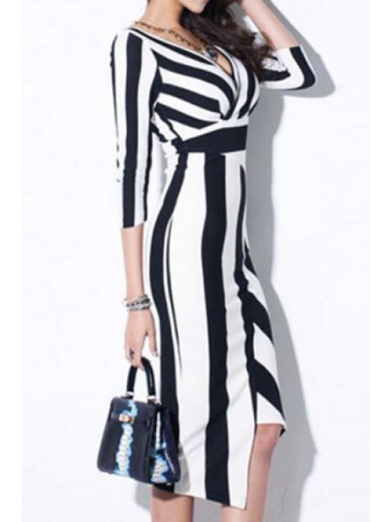 ladies Striped Plunging Neck 3/4 Sleeve Dress - WHITE AND BLACK S