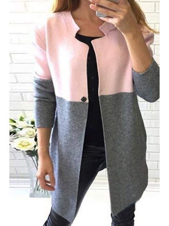 chic Color Block Stand Neck Long Sleeve Coat - GRAY S