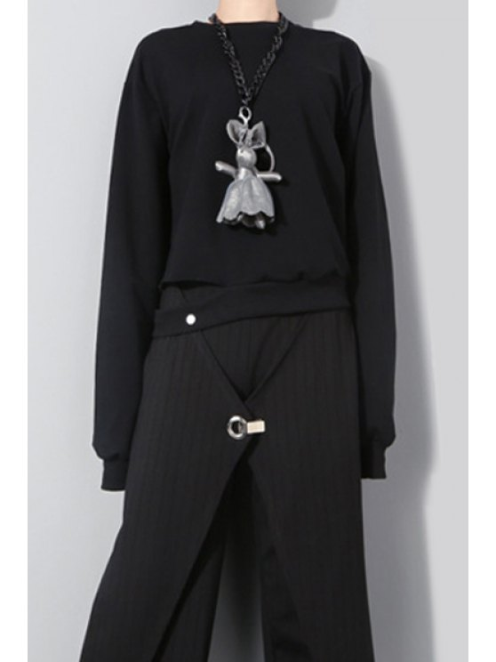 outfit Solid Color Unique Tailoring Sweatshirt - BLACK ONE SIZE(FIT SIZE XS TO M)