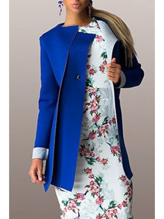 online Long Sleeves Color Block Round Neck Coat - BLUE 2XL