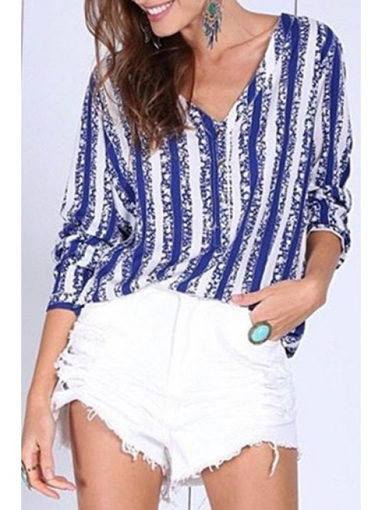 buy Blue Striped V Neck 3/4 Sleeve Blouse - BLUE AND WHITE S