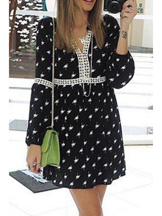 trendy Print Lace Spliced V Neck Long Sleeve Dress - BLACK S