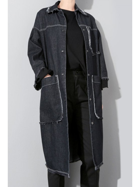 ladies Big Pockets Denim Coat - BLACK ONE SIZE(FIT SIZE XS TO M)