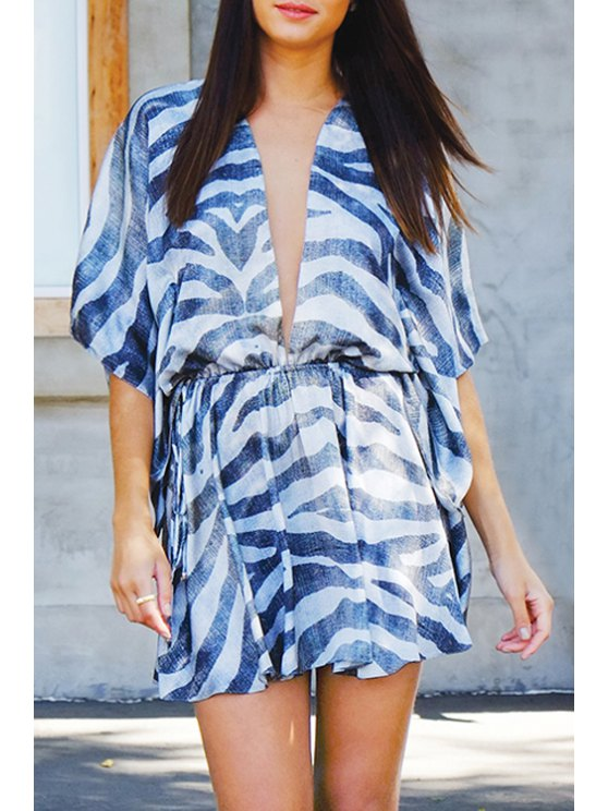 sale Striped Plunging Neck Half Sleeve Dress - BLUE AND WHITE S