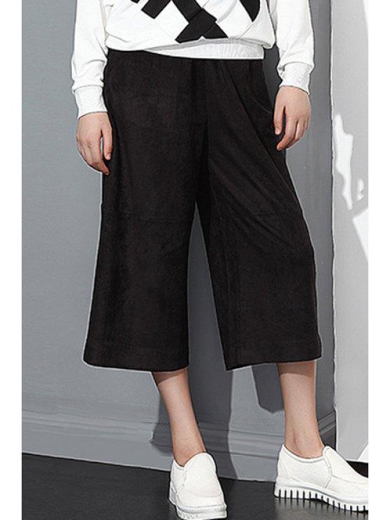 women's Wide Leg Suede Capri Pants - BLACK ONE SIZE(FIT SIZE XS TO M)