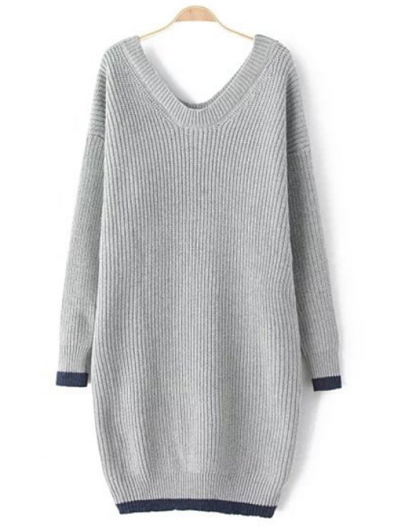 unique Long V-Neck Long Sleeves Sweater Dress - GRAY ONE SIZE(FIT SIZE XS TO M)