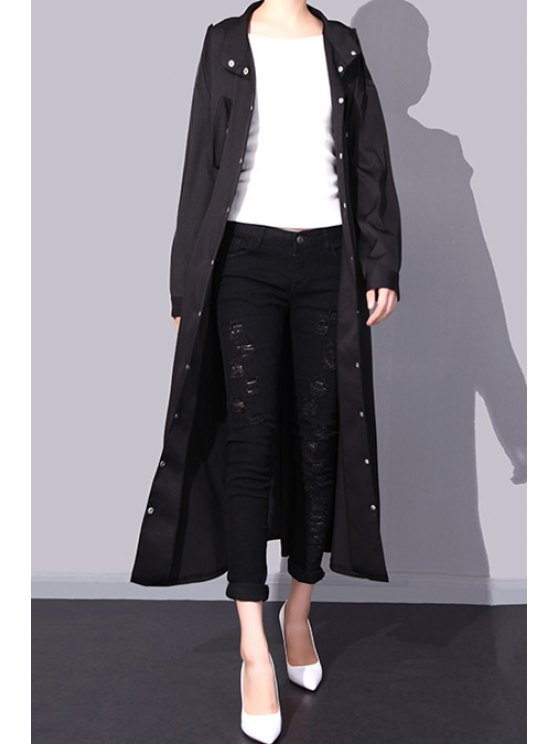 online Elastic Waist Epaulet Embellished Trench Coat - BLACK ONE SIZE(FIT SIZE XS TO M)