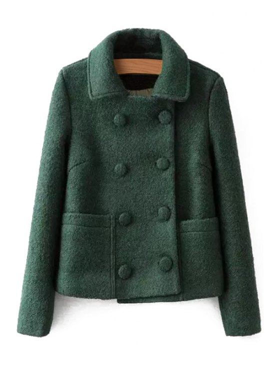 online Double-Breasted Turn-Down Collar Solid Color Coat - GREEN S