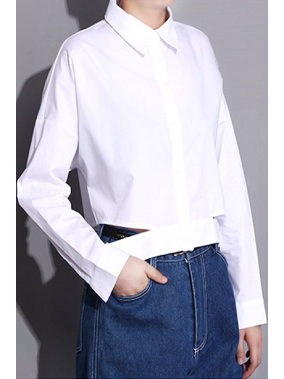 hot Solid Color Cut Out Shirt - WHITE ONE SIZE(FIT SIZE XS TO M)