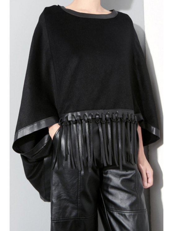 best Batwing Sleeve Fringed Cape Sweatshirt - BLACK ONE SIZE(FIT SIZE XS TO M)
