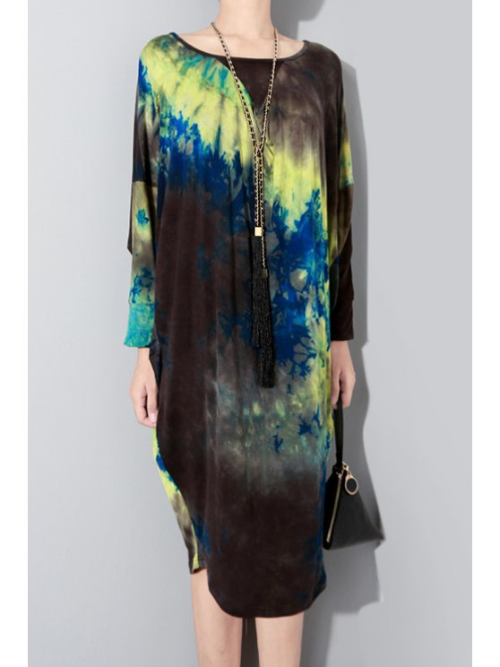 buy Batwing Sleeve Printed Midi Dress - BLUE AND YELLOW ONE SIZE(FIT SIZE XS TO M)