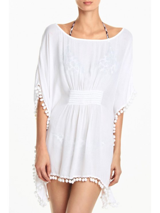 best Solid Color Scoop Neck Half Sleeve Cover Up - CRYSTAL CREAM ONE SIZE(FIT SIZE XS TO M)