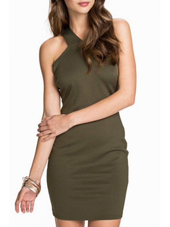 affordable Sleeveless Hollow Back Bodycon Dress - ARMY GREEN M