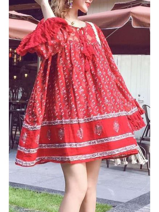 hot Ethnic Print Bohemian V Neck Long Sleeve Dress - RED ONE SIZE(FIT SIZE XS TO M)
