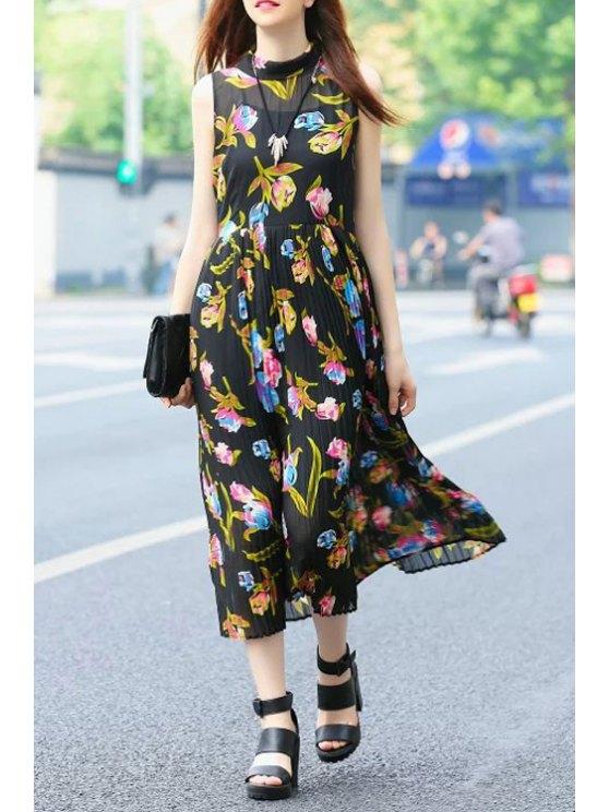trendy Flower Print Sleeveless Flat Collar Chiffon Dress - BLACK S
