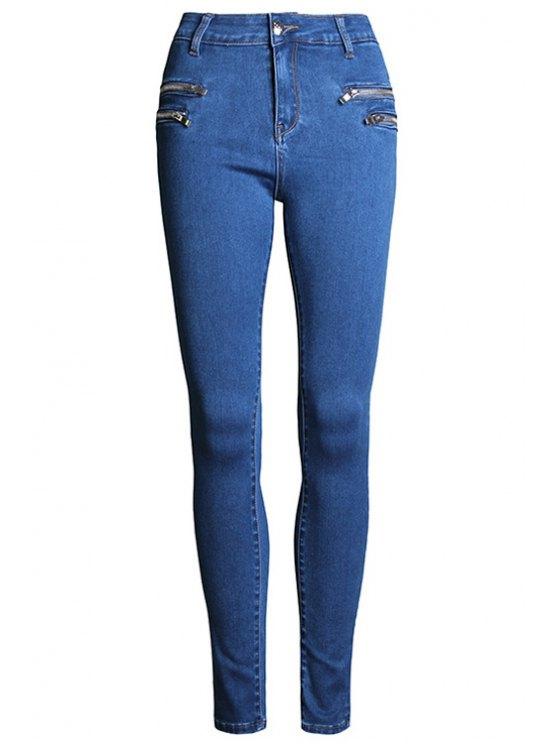 hot Pure Color High Waisted Zipper Jeans - DEEP BLUE 34