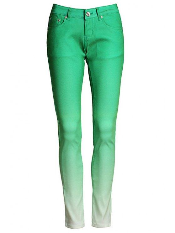 ladies Ombre Color Narrow Feet Pants - GREEN M