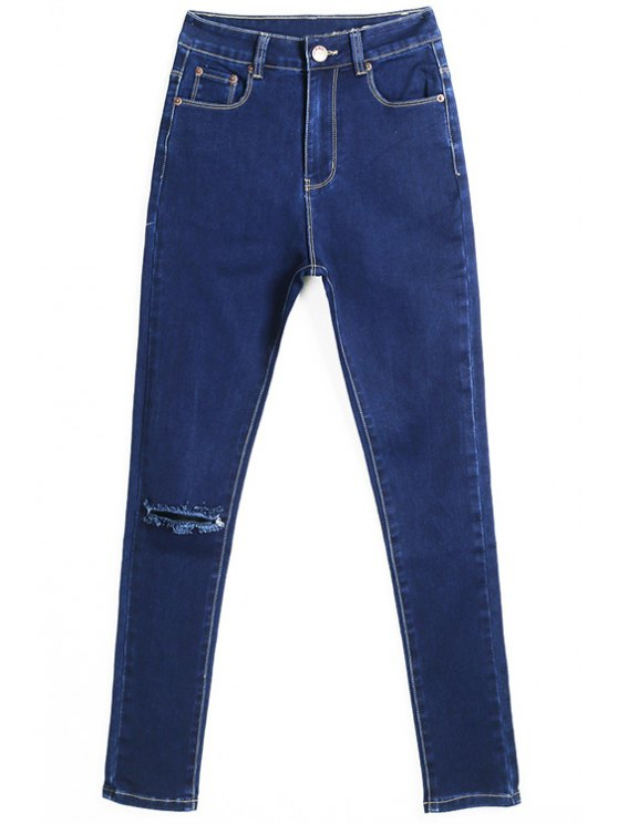 affordable Hole High Waisted Skinny Jeans - DEEP BLUE 36