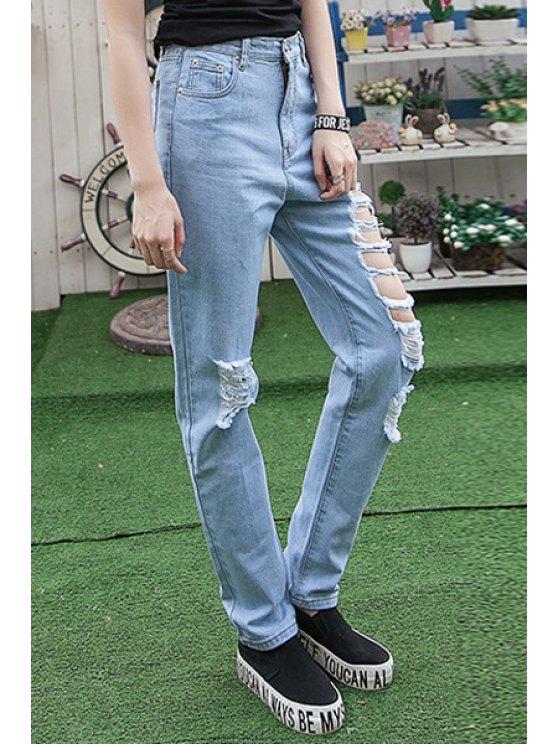 ladies Hole High Waisted Narrow Feet Jeans - LIGHT BLUE 32