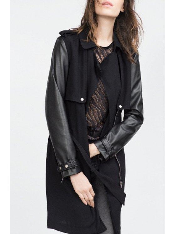 chic PU Leather Spliced Lapel Long Sleeve Coat - BLACK S