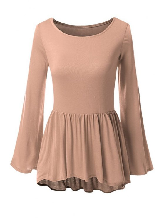 lady Bell Sleeve Solid Color Peplum T-Shirt - COFFEE L