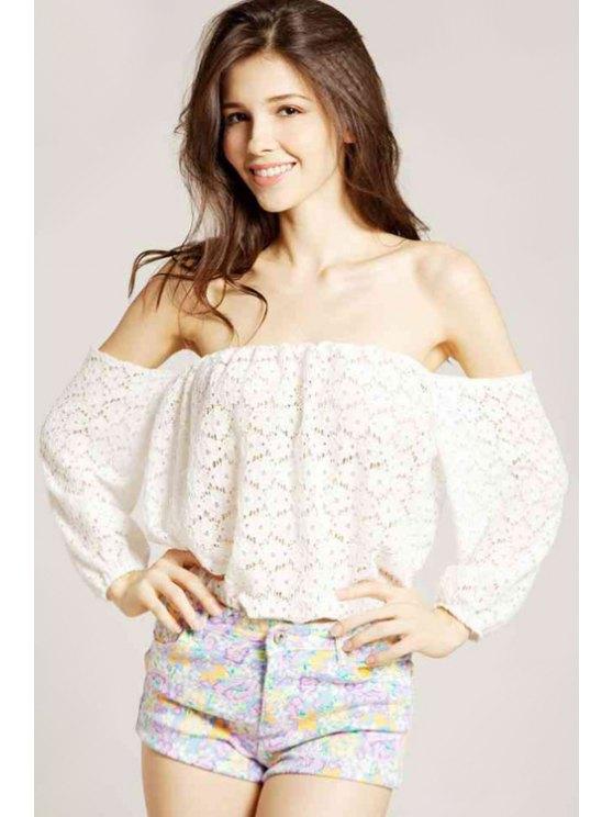 shop Off-The-Shoulder Lace Blouse - OFF-WHITE S