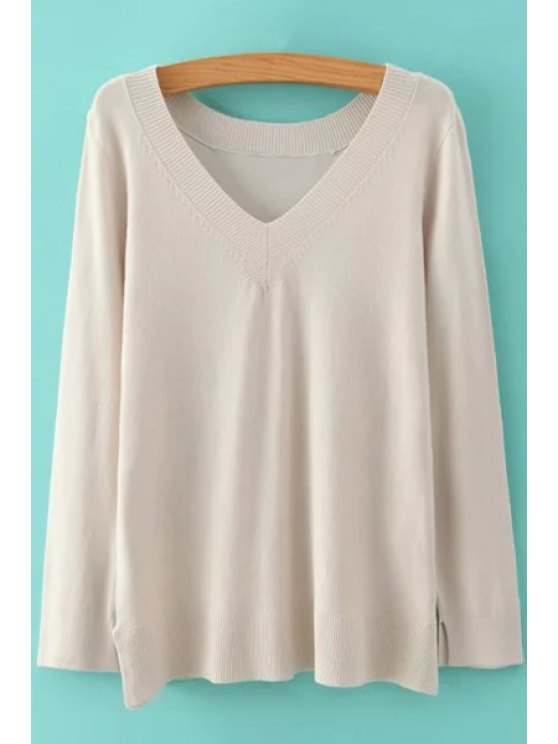 lady Pure Color V Neck Long Sleeve Jumper - OFF-WHITE S