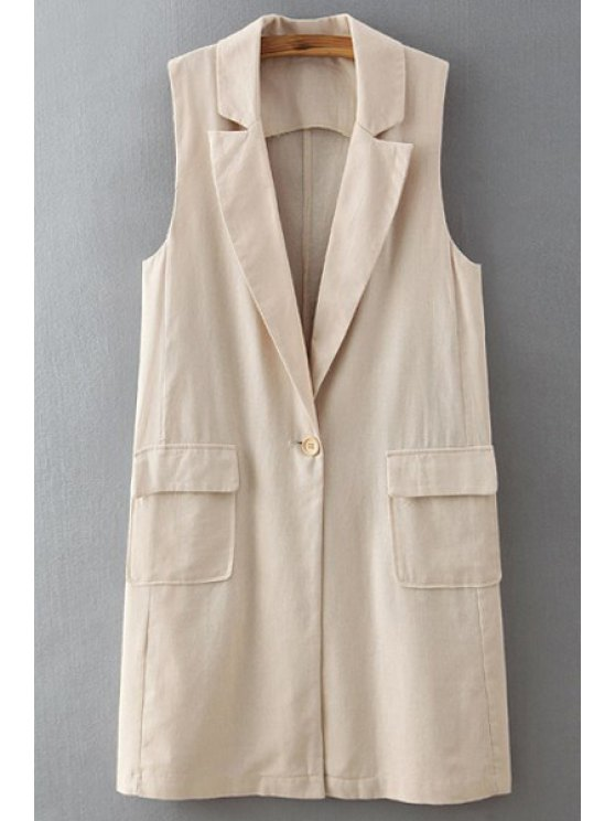fashion Pure Color Lapel Neck Waistcoat - OFF-WHITE ONE SIZE(FIT SIZE XS TO M)