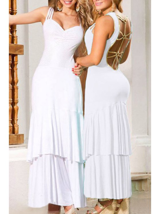 trendy Hollow Back White Tiered Maxi Dress - WHITE M