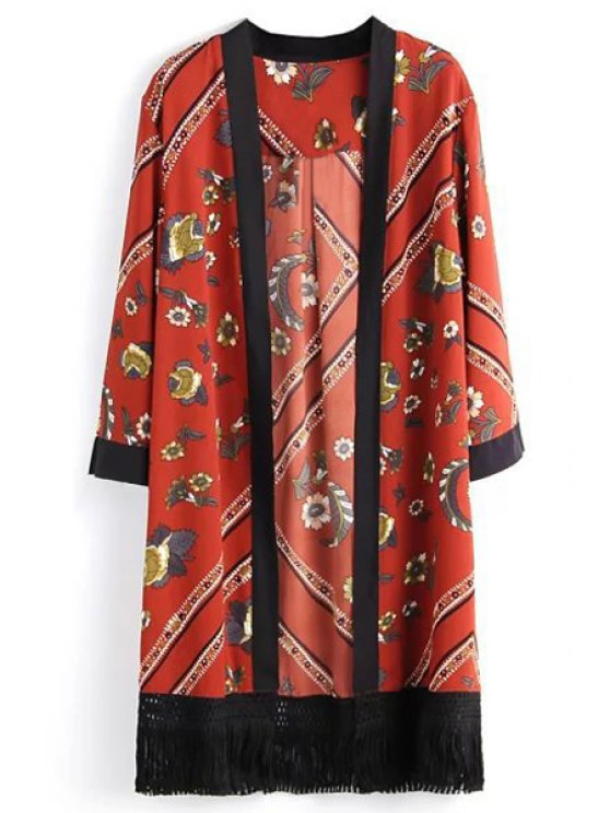 affordable Floral Print Collarless Long Sleeves Kimono - RED S