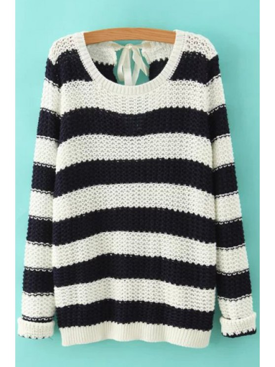 unique Striped Lace Up Long Sleeve Jumper - WHITE AND BLACK M