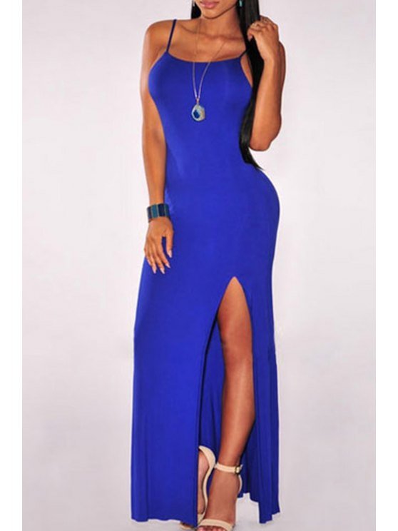 chic Backless High Slit Maxi Dress - BLUE ONE SIZE(FIT SIZE XS TO M)