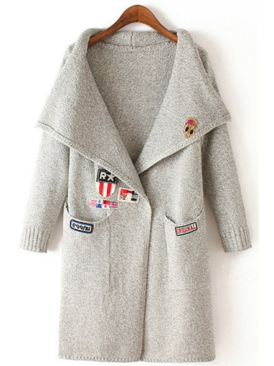 womens Embroidery Turn Down Collar Long Sleeve Cardigan - LIGHT GRAY ONE SIZE(FIT SIZE XS TO M)