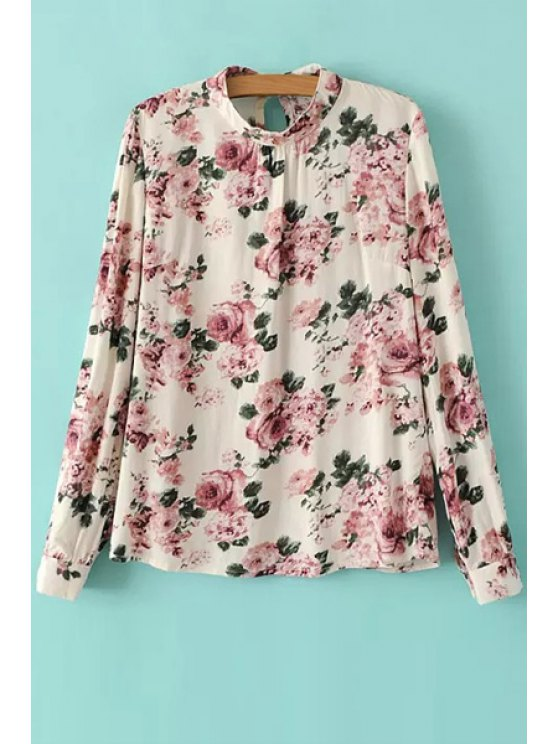 new Full Floral Stand Neck Long Sleeve Blouse - RED WITH WHITE S
