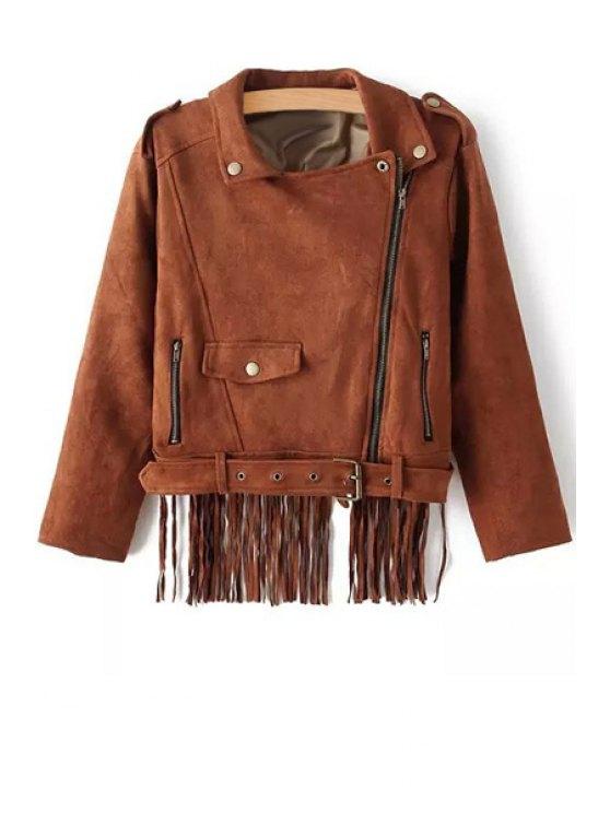 fashion Tassels Turn Down Collar Long Sleeve Jacket - BROWN S
