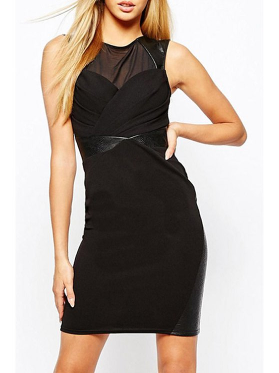 women Volie Spliced Black Bodycon Dress - BLACK M